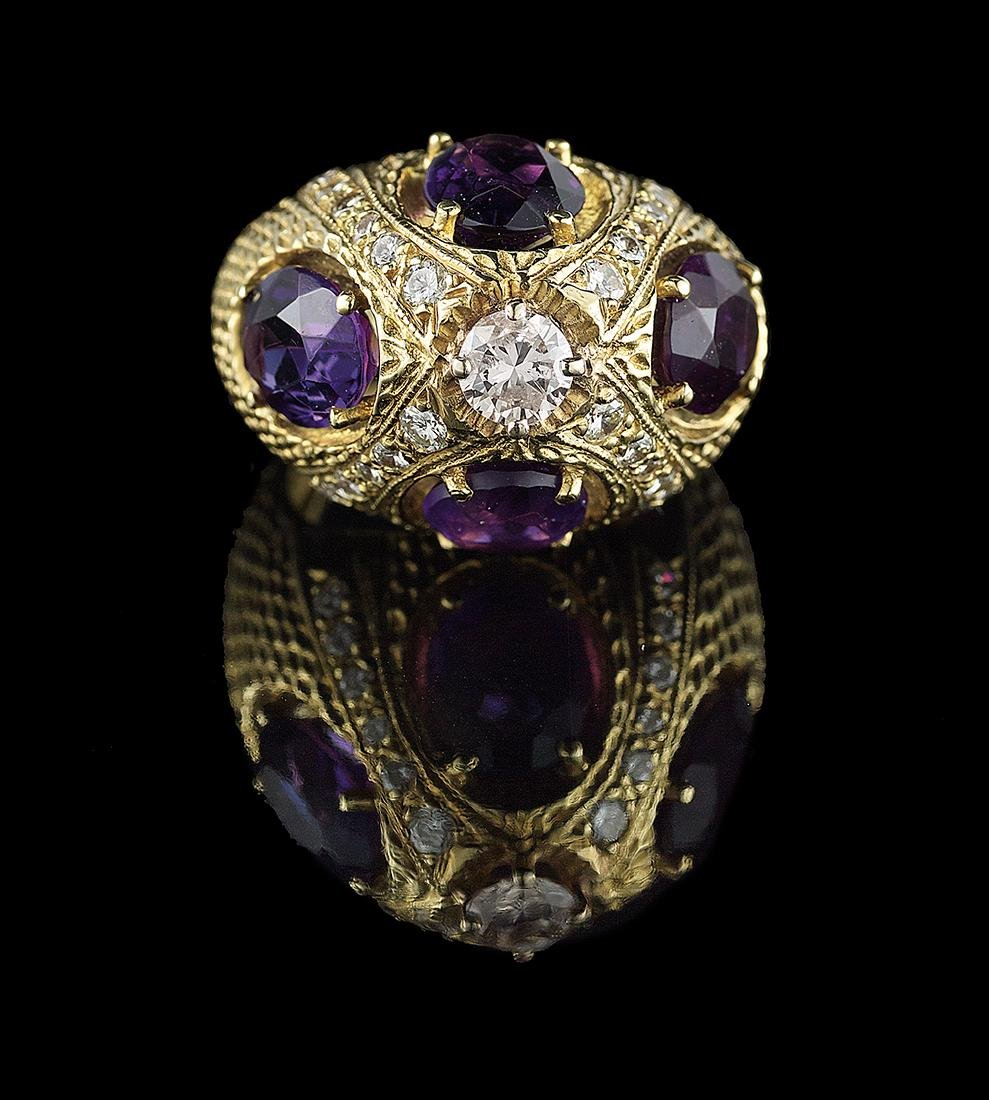 Unusual Amethyst and Diamond Ring