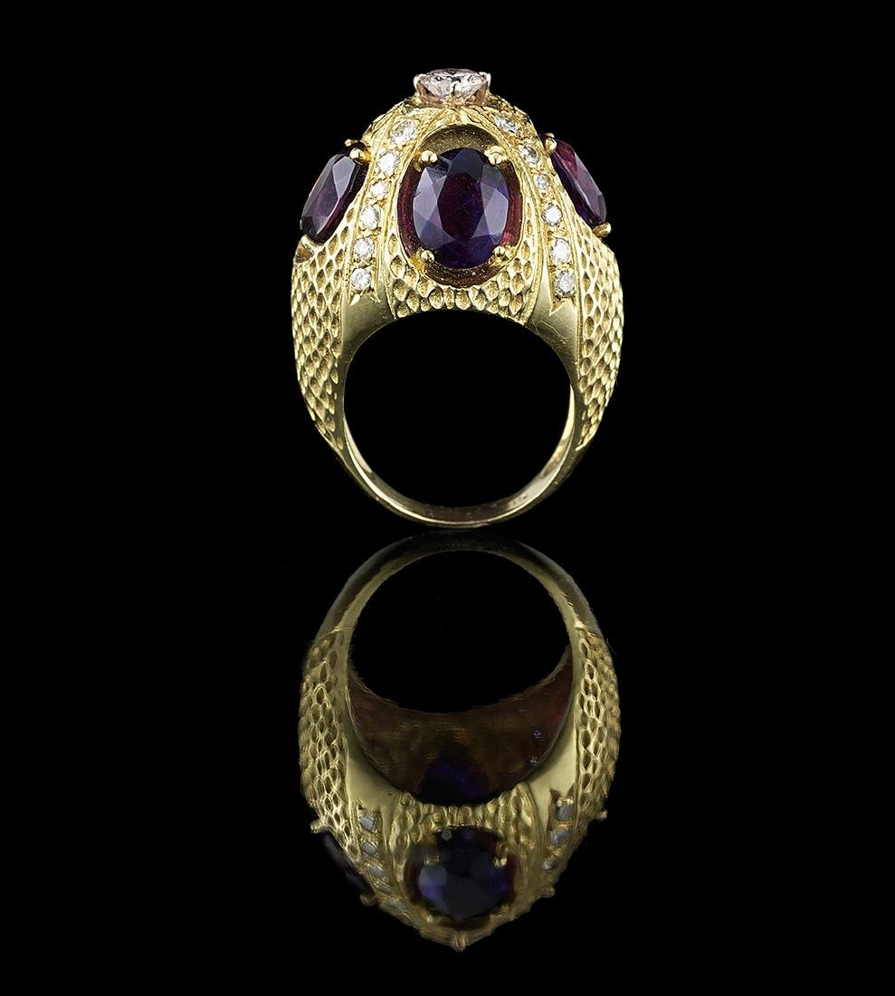 Unusual Amethyst and Diamond Ring - 2
