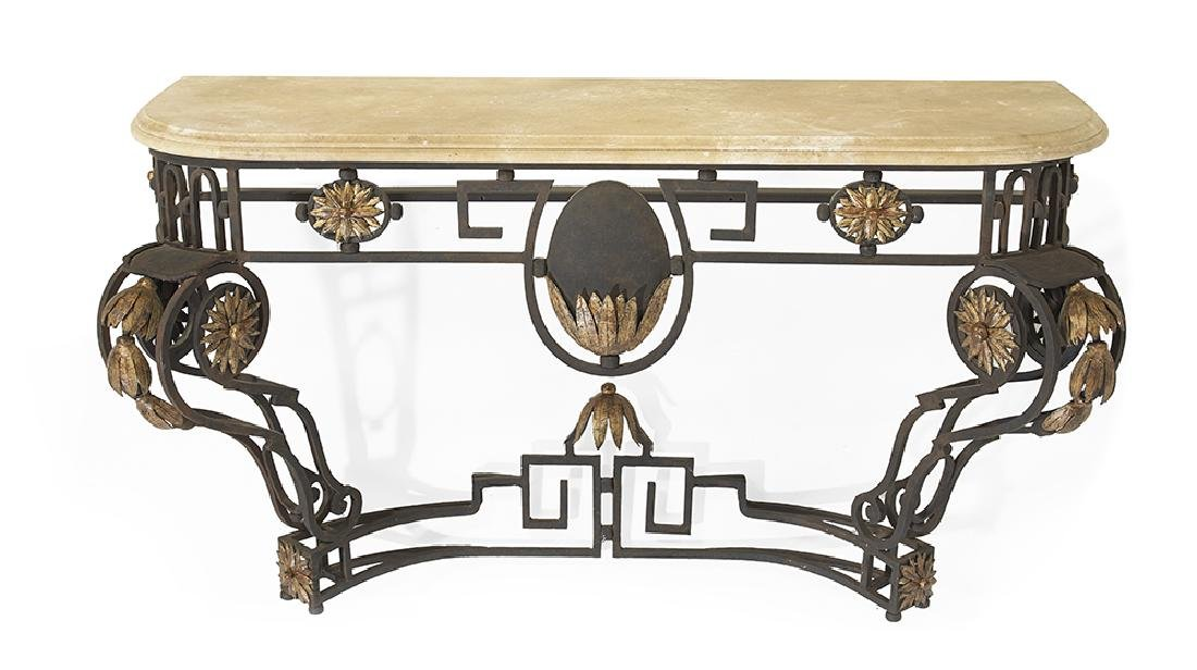 Contemporary Wrought Iron and Marble-Top Console