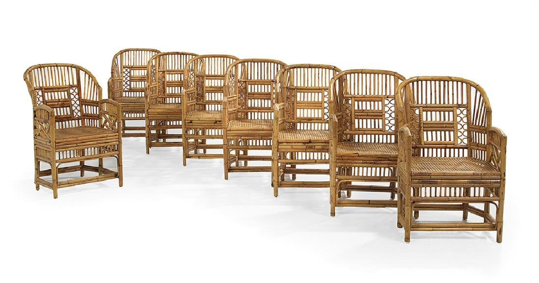 Eight Regency-Style Bamboo and Cane Armchairs