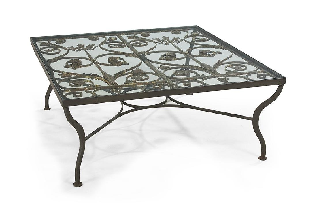 Contemporary Iron and Glass Cocktail Table