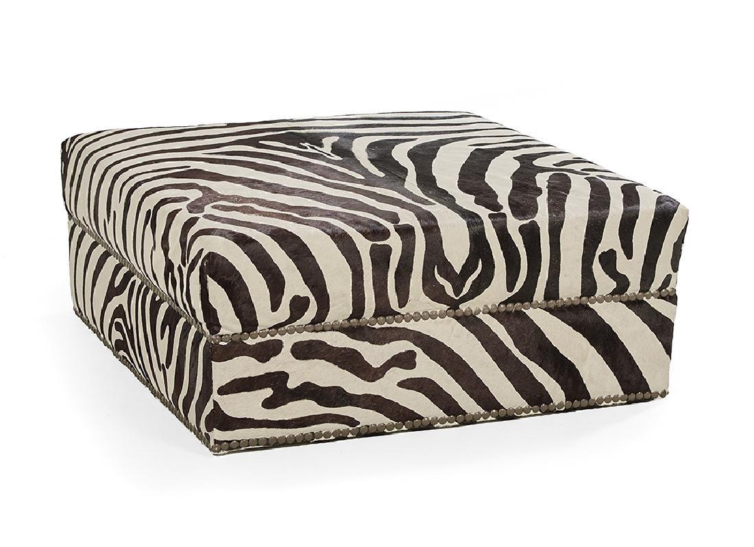 Contemporary Zebra-Upholstered Ottoman