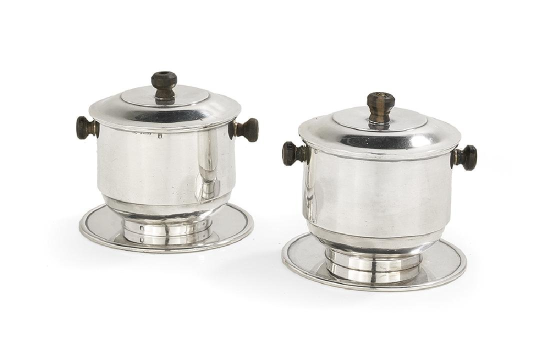 Pair of French Art Deco Silver Drip Coffee Makers
