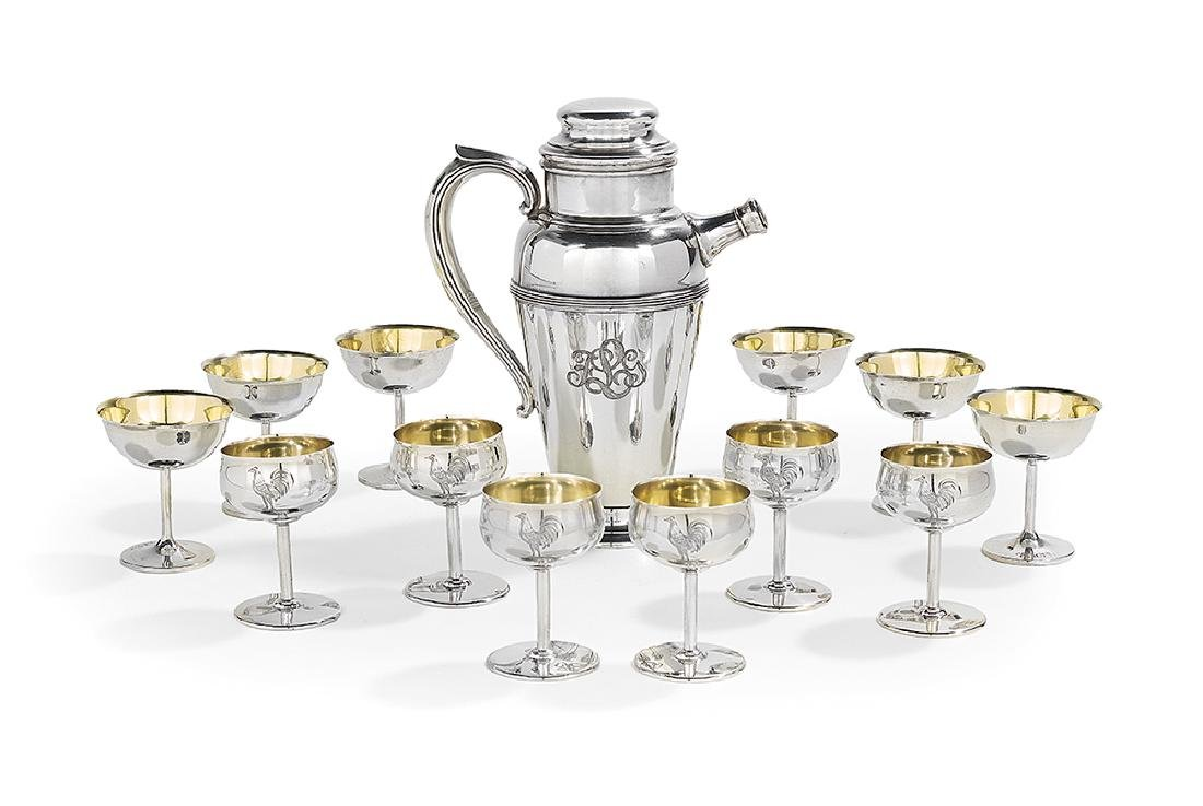 Thirteen-Piece Sterling Silver Cocktail Set