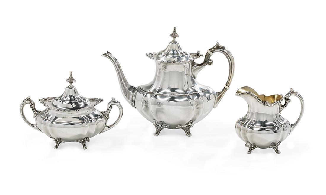 "Three-Piece ""Hampton Court"" Silver Tea Set"