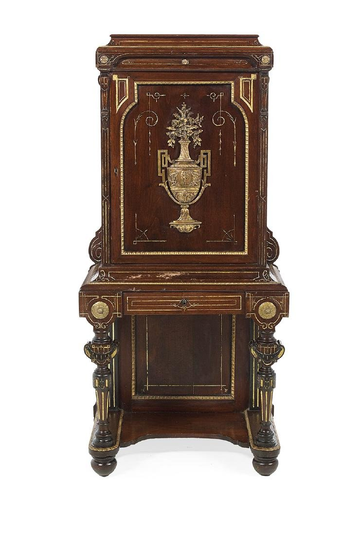 American Neo-Grec Bronze-Mounted Music Cabinet