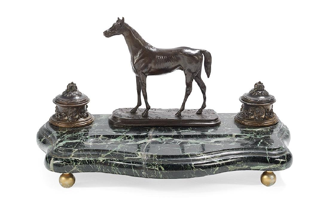Bronze, Metal and Marble Encrier