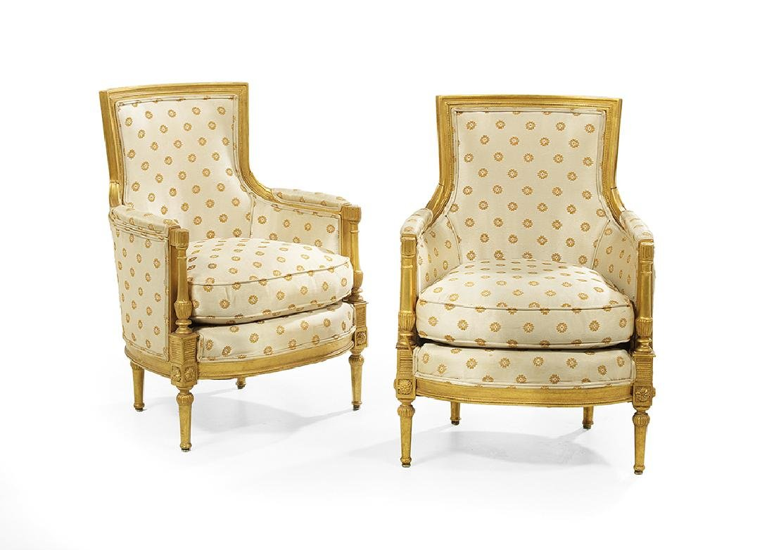 Pair of Directoire-Style Giltwood Bergeres
