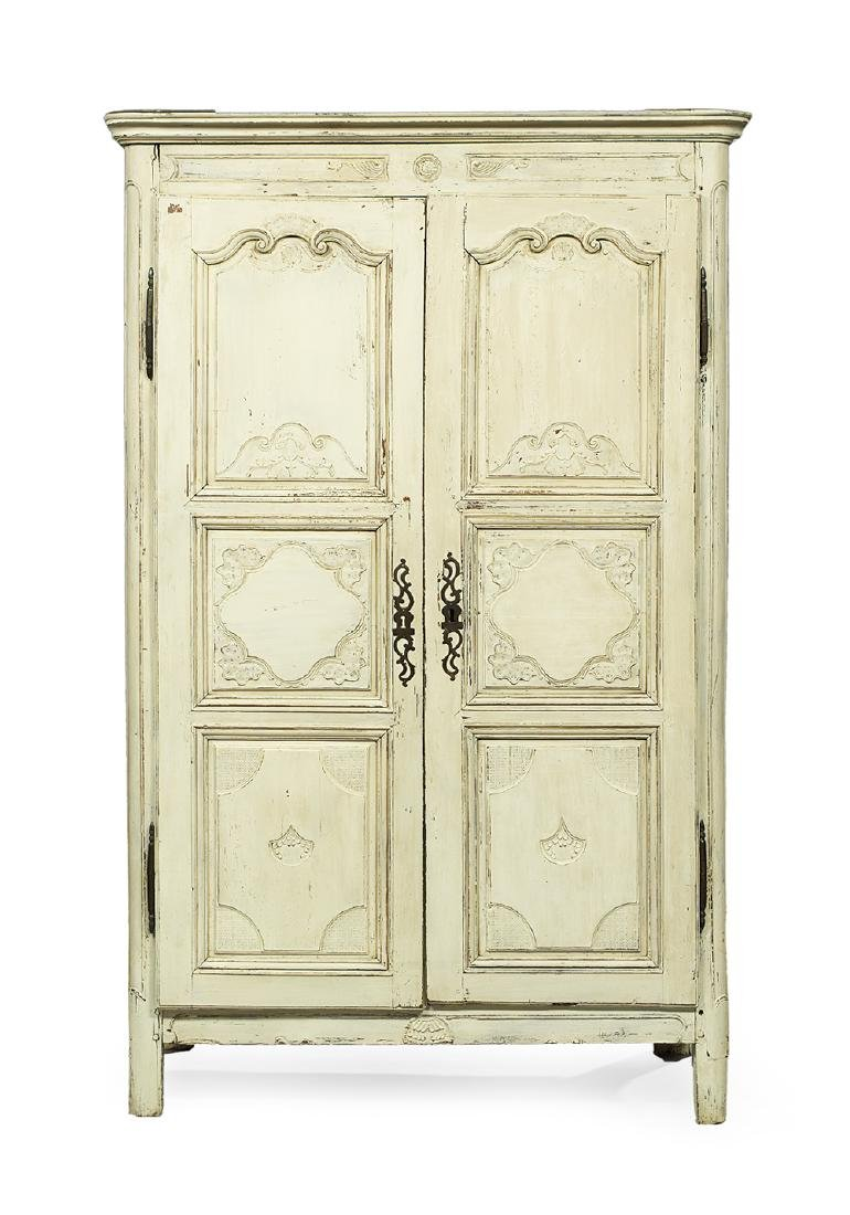 French Provincial Polychrome Armoire