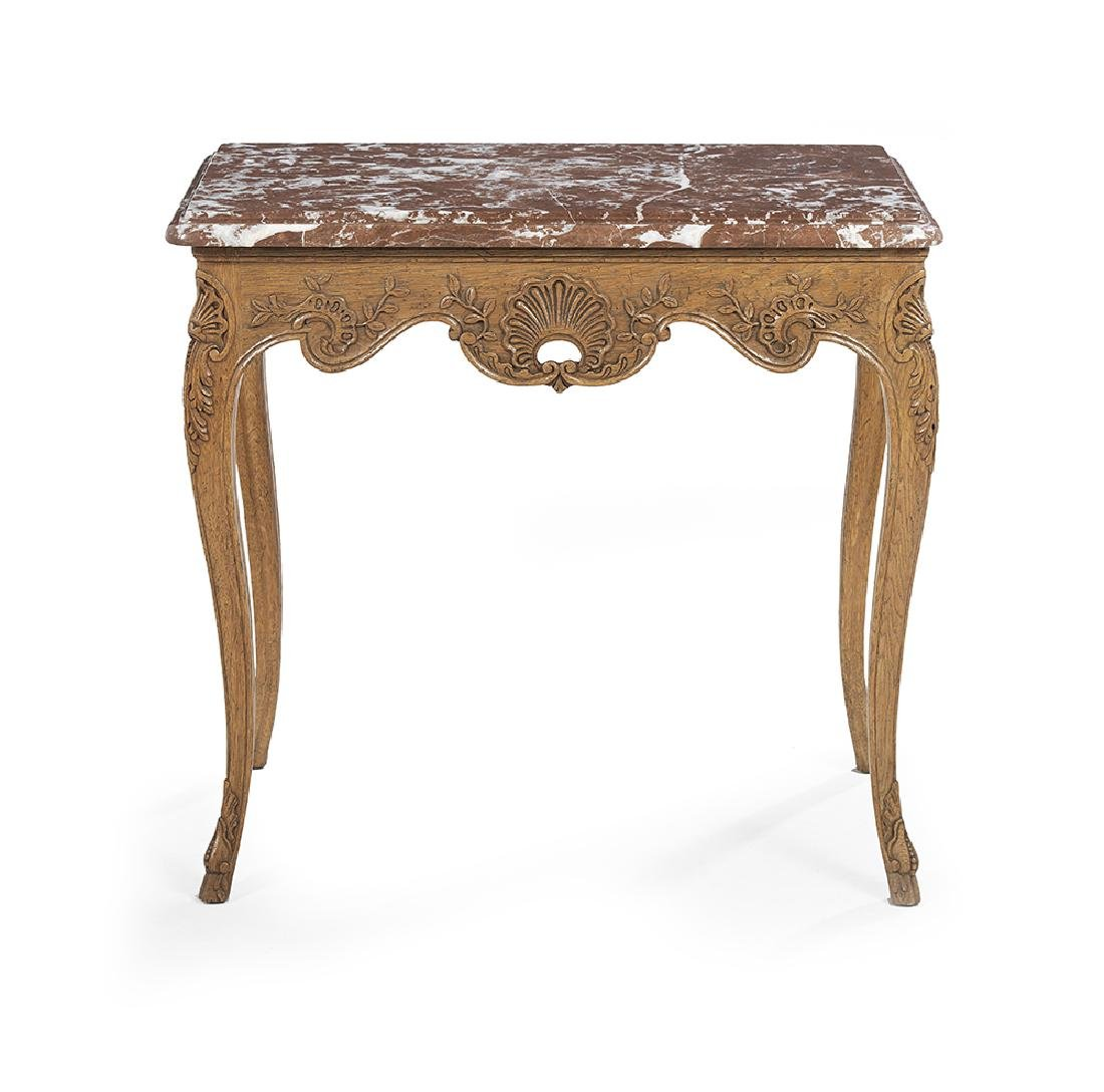 Provincial Louis XV-Style Marble-Top Side Table