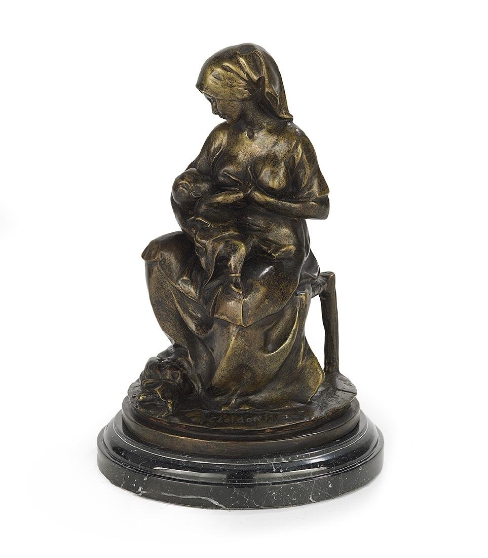 """Continental Patinated Bronze of """"Maternal Love"""""""