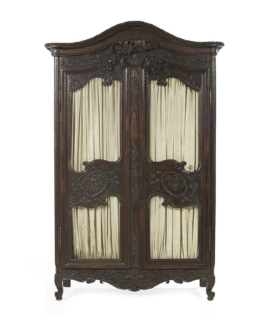 Provincial Louis XV-Style Oak Armoire
