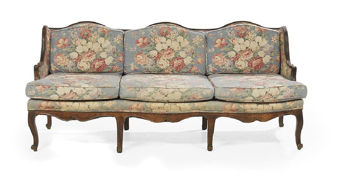 Provincial Louis XV-Style Fruitwood Settee