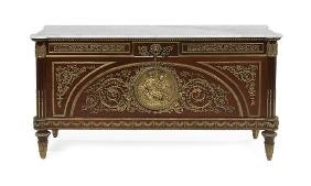 Louis Xiv-style Mahogany And Marble-top Cabinet