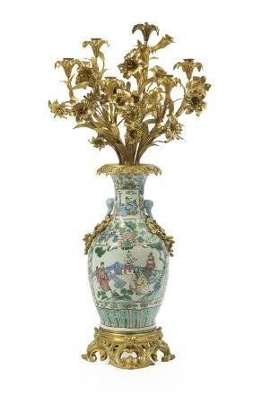 Gilt-bronze-mounted Rose Mandarin Vase