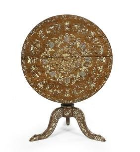 Chinese Mother-of-pearl-inlaid Tilt-top Table
