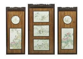 Three Chinese Porcelain And Hardwood Panels