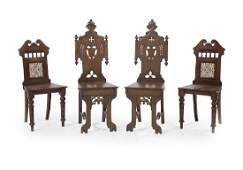 Two Pairs of English Hall Chairs
