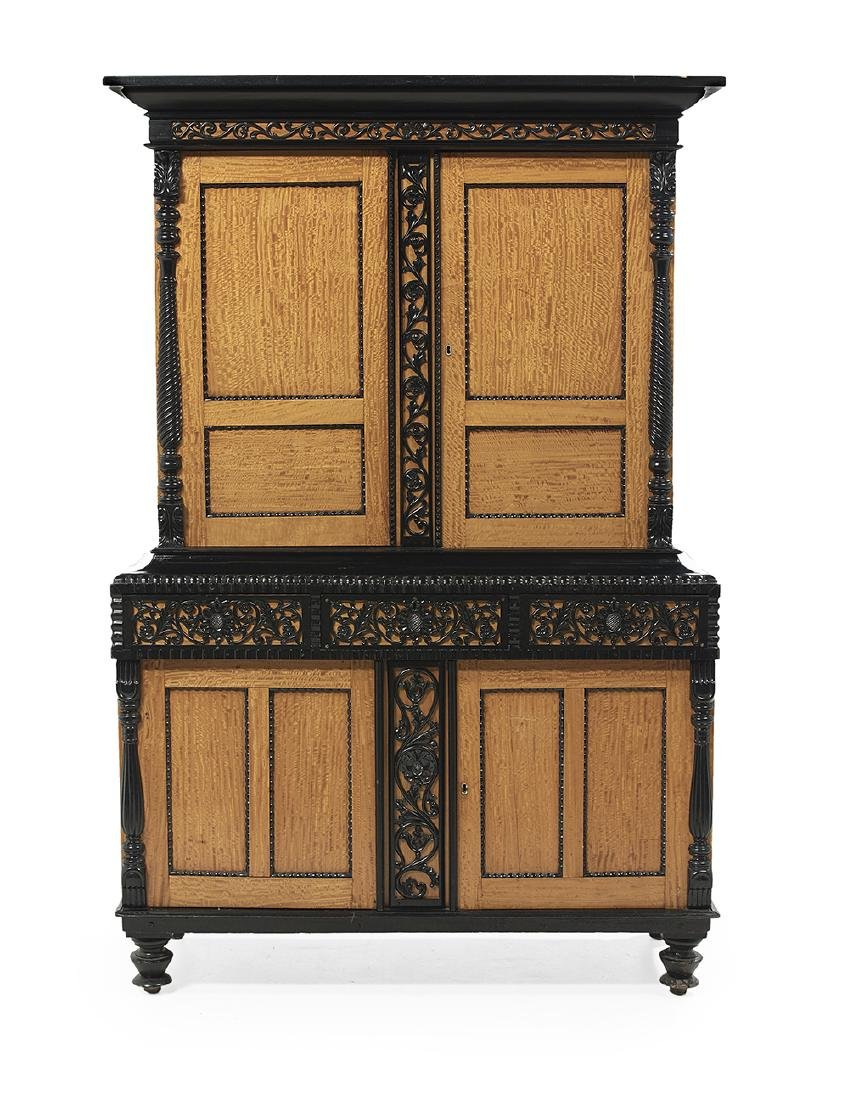 Biedermeier-Style Satinwood and Ebonized Cabinet