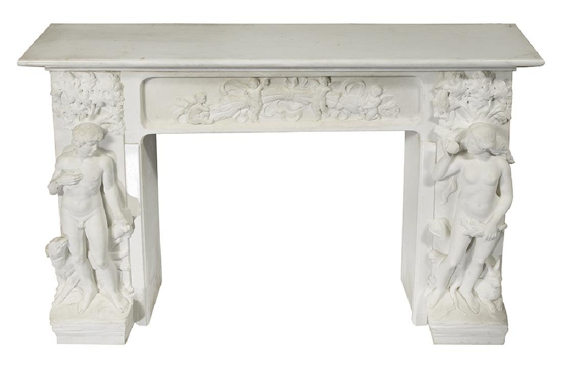 Continental Carved Carrara Marble Mantel