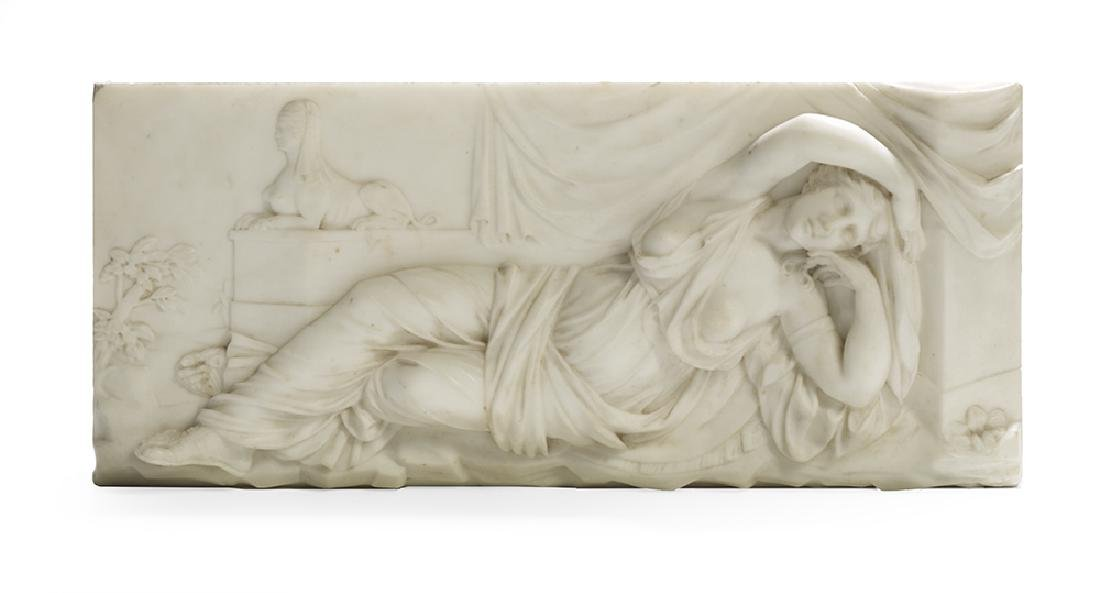 Bas-Relief-Carved Marble Plaque of Cleopatra