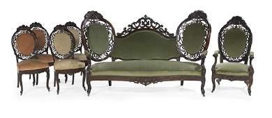American Rococo Revival Six-Piece Parlor Suite
