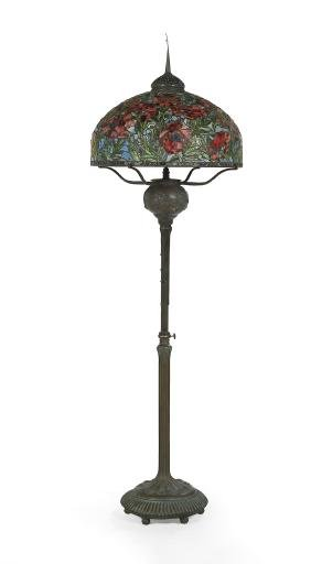 Large Tiffany-style Leaded Glass Floor Lamp