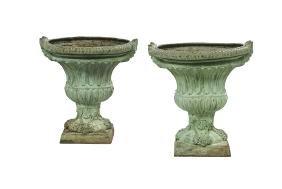 Pair Of Bronze Garden Urns