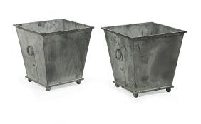 Pair Of Metal Planters Of Chinoiserie Inspiration