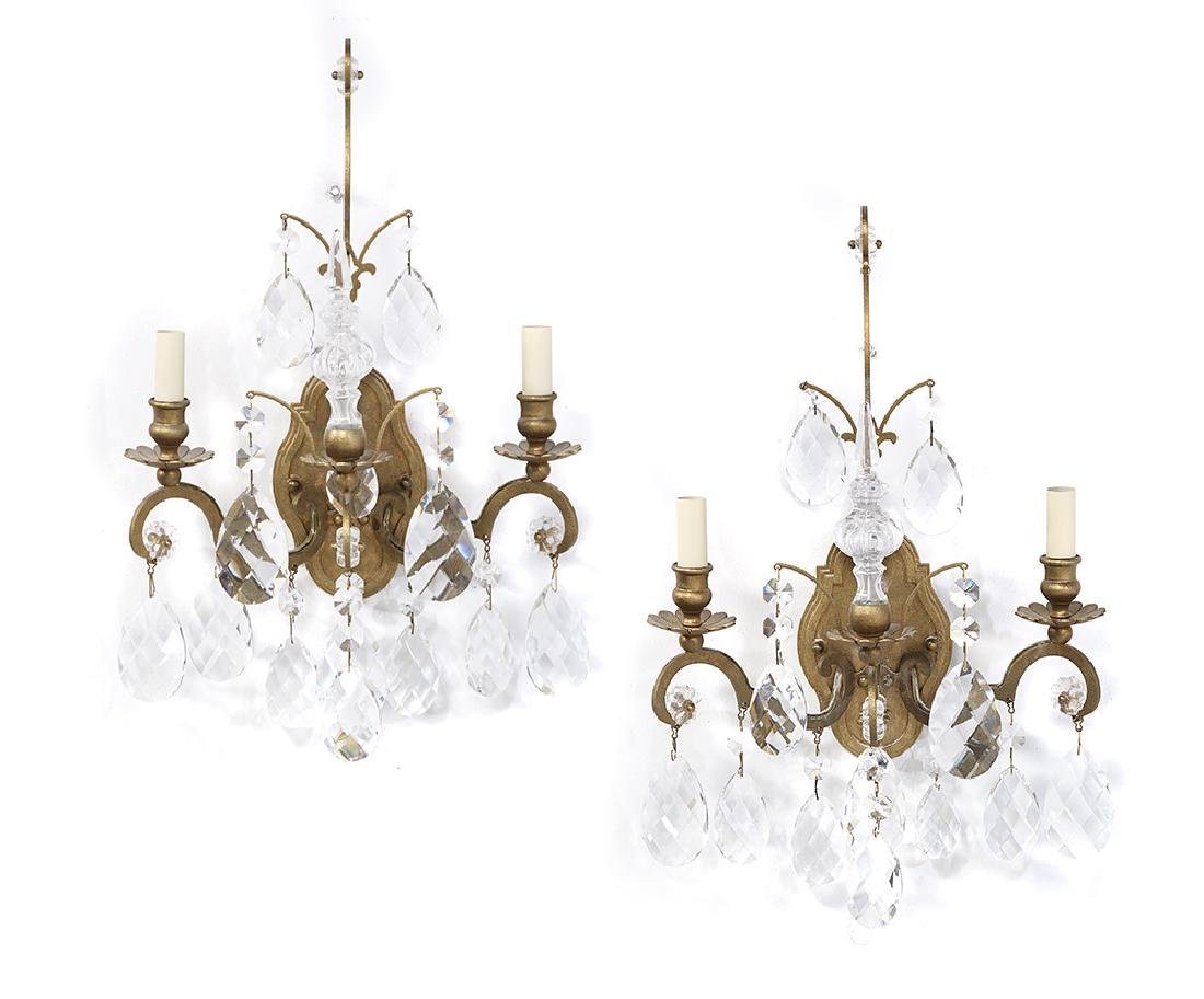 Pair of Gilt-Metal and Crystal Sconces