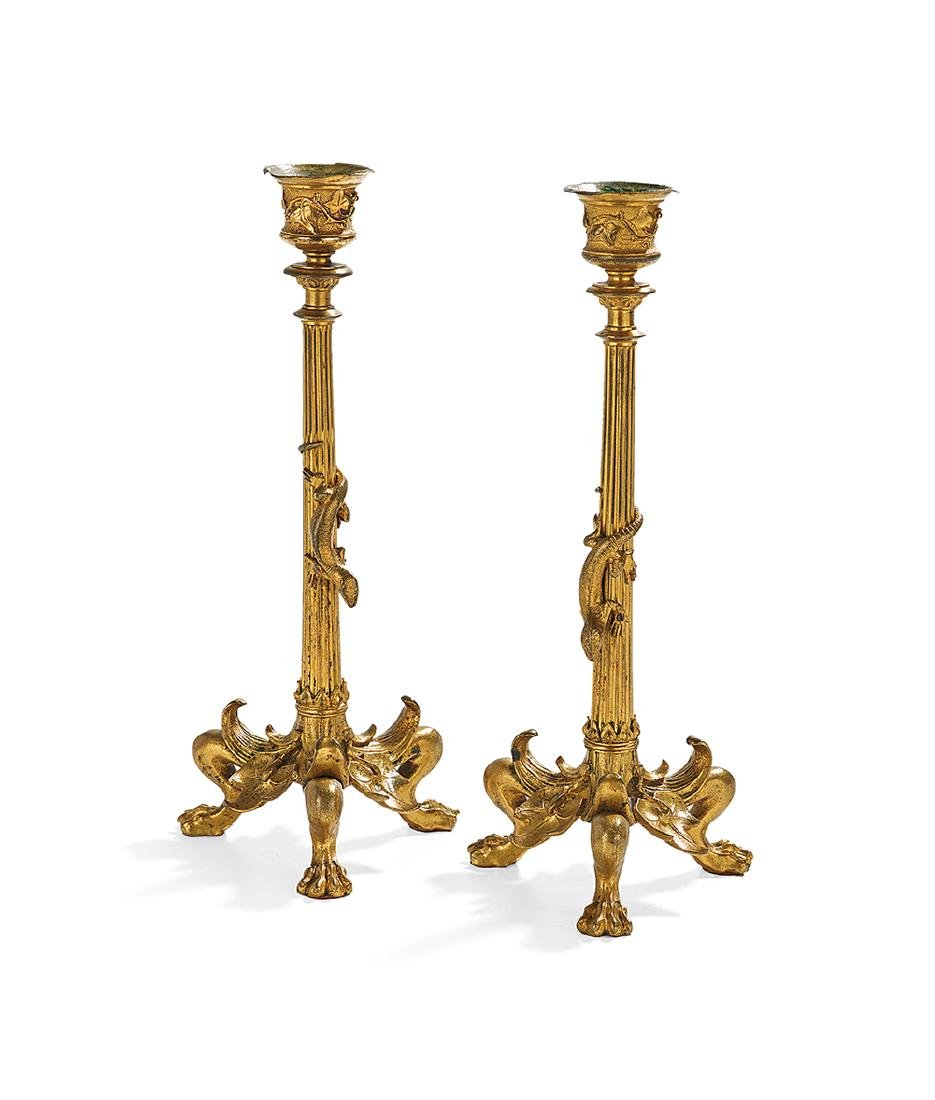 Pair of Italian Gilt-Bronze Candlesticks