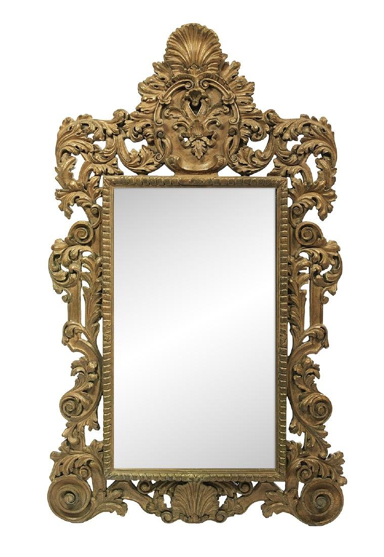 Bold Gilt and Painted Mirror in the Baroque Taste