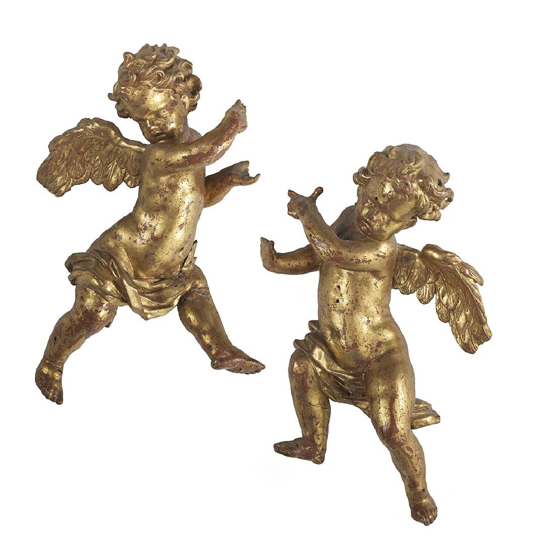 Pair of Carved and Gilded Cherubim