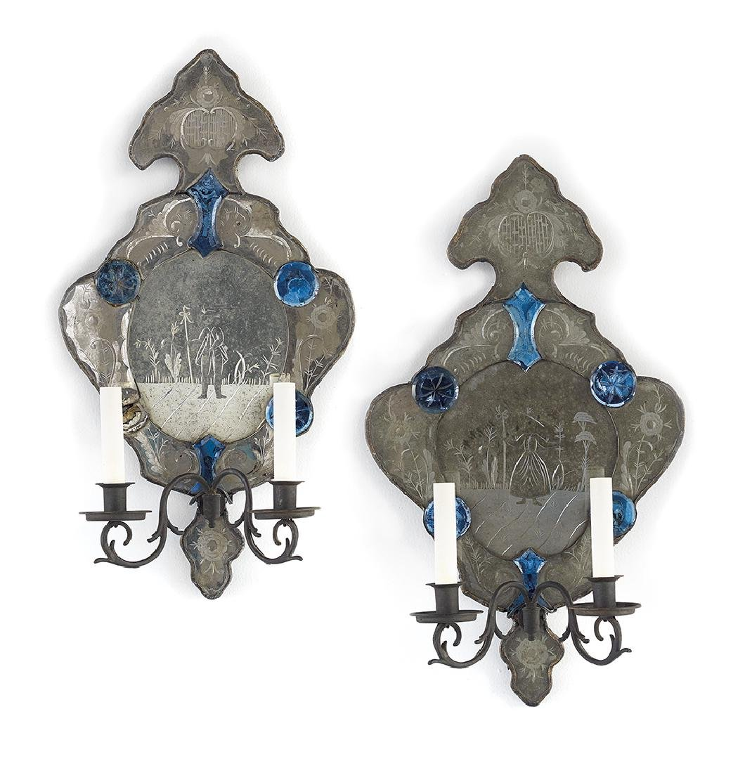 Pair of Venetian Glass and Brass Sconces