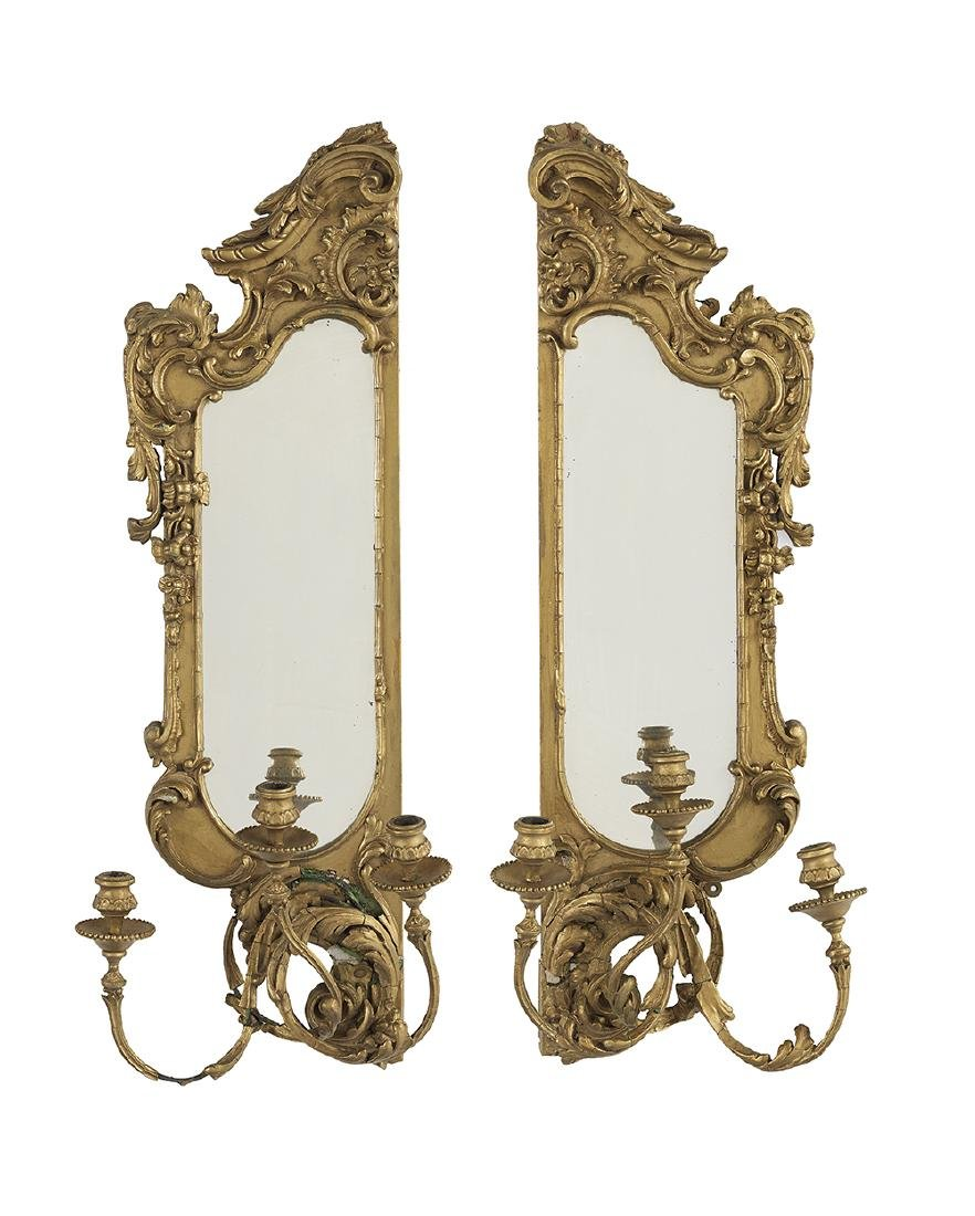 Pair of French Mirrored and Giltwood Sconces