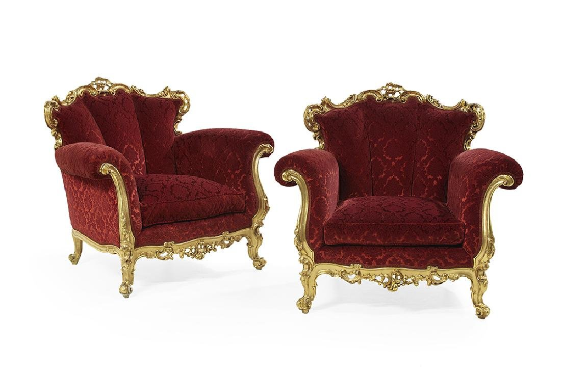 Pair of Giltwood and Upholstered Bergeres