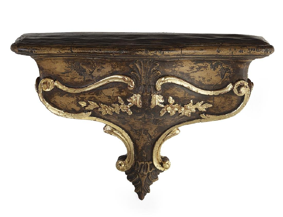French Parcel-Gilt and Painted Plaster Bracket