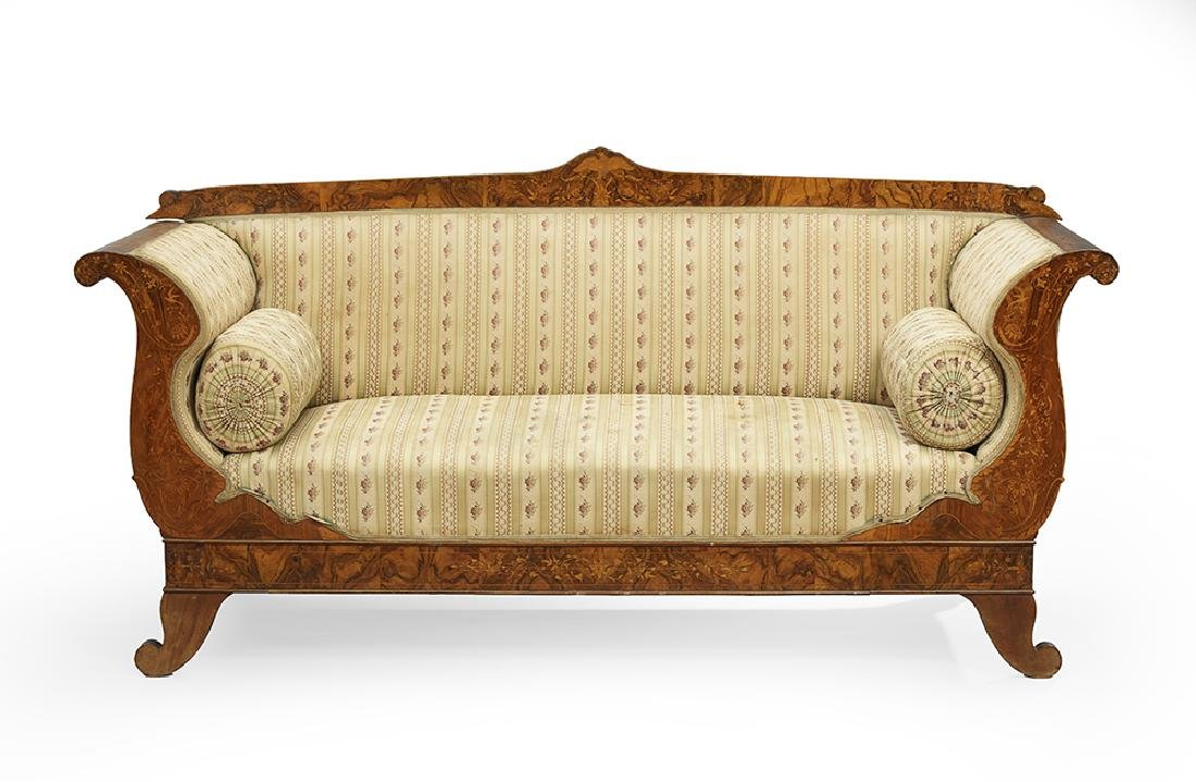 Dutch Walnut and Marquetry Settee