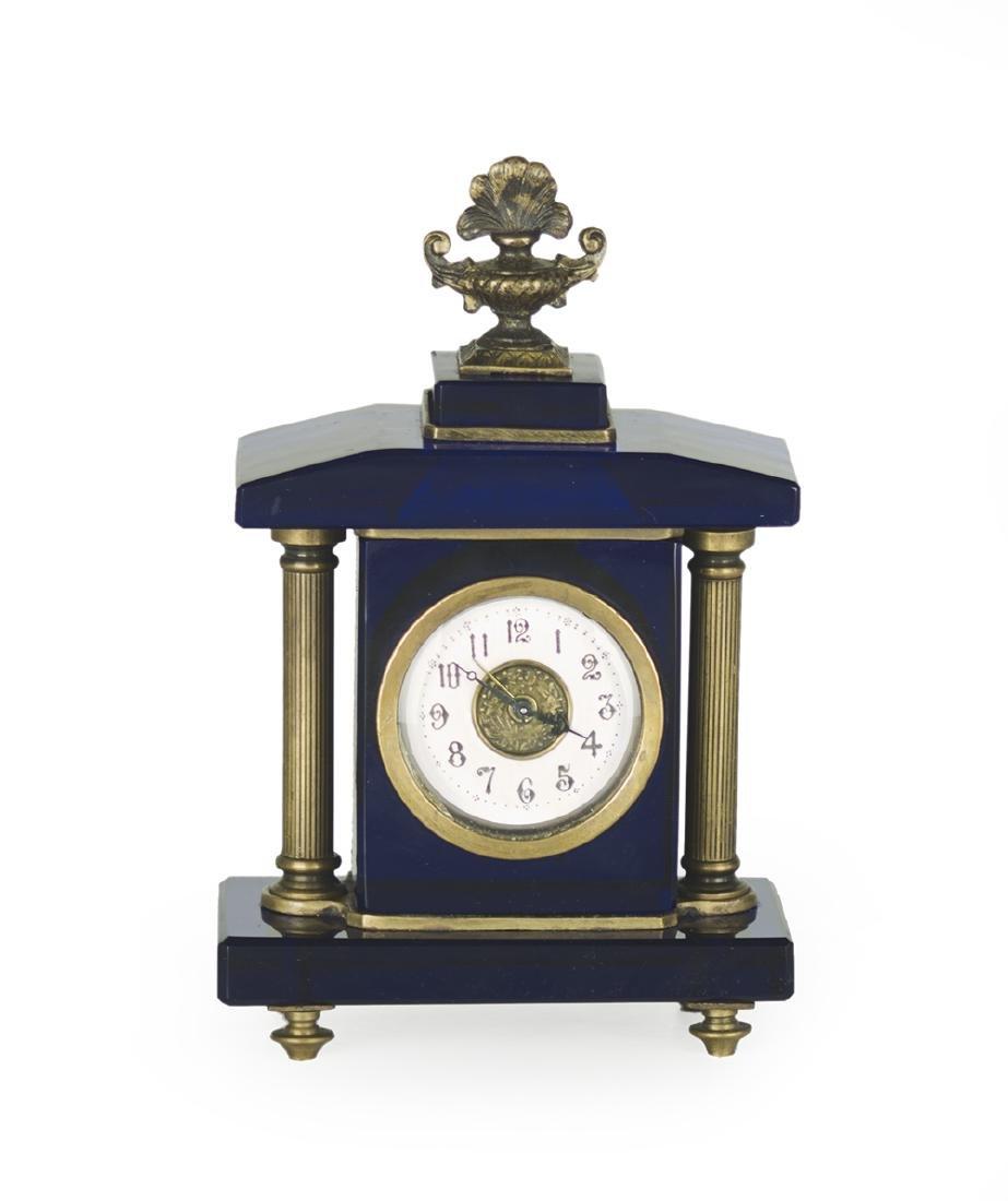 Continental Brass and Glass Boudoir Clock