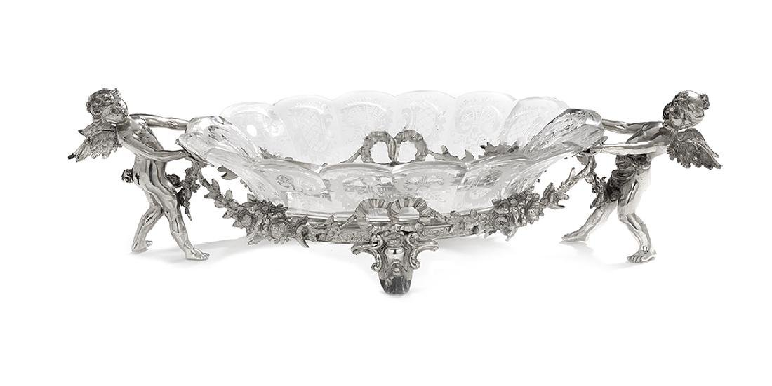 German Silver and Glass Centerpiece