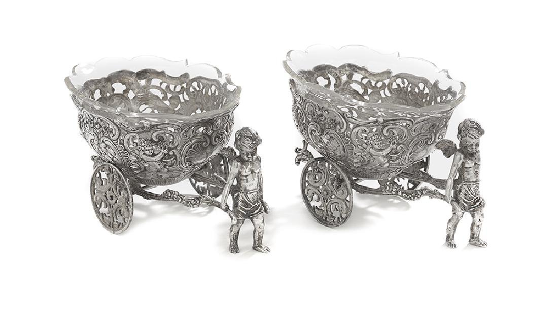 Pair of German Silver Condiment Carriages