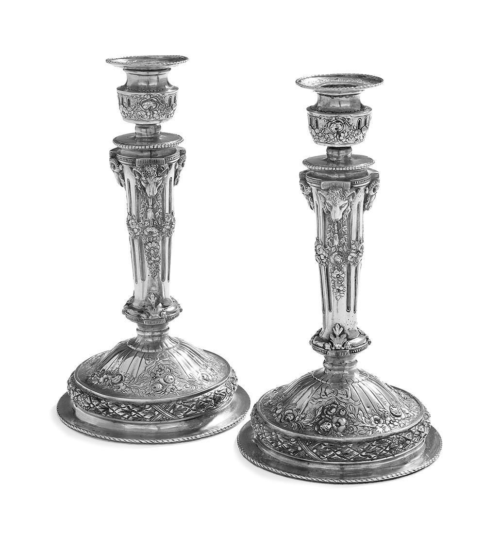 Pair of German Silver Historizmus Candlesticks