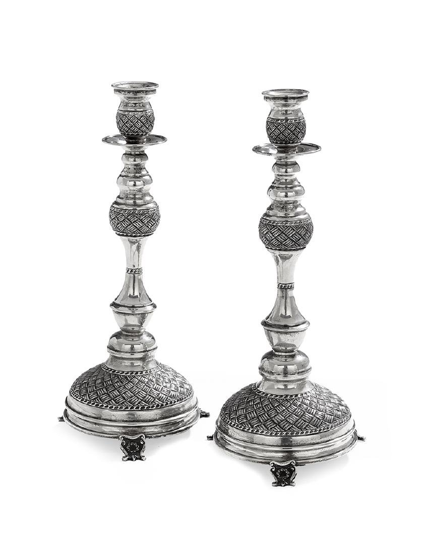 Pair of Continental Silver Shabbat Candlesticks
