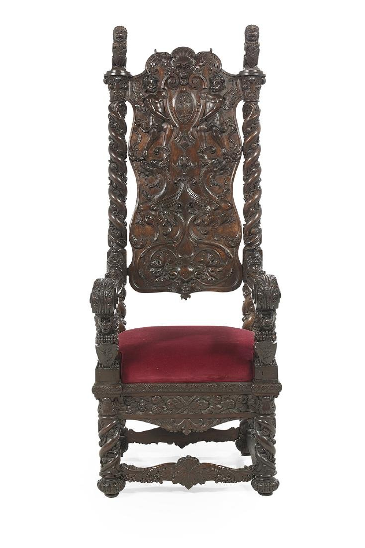 Monumental Mahogany Hall Chair