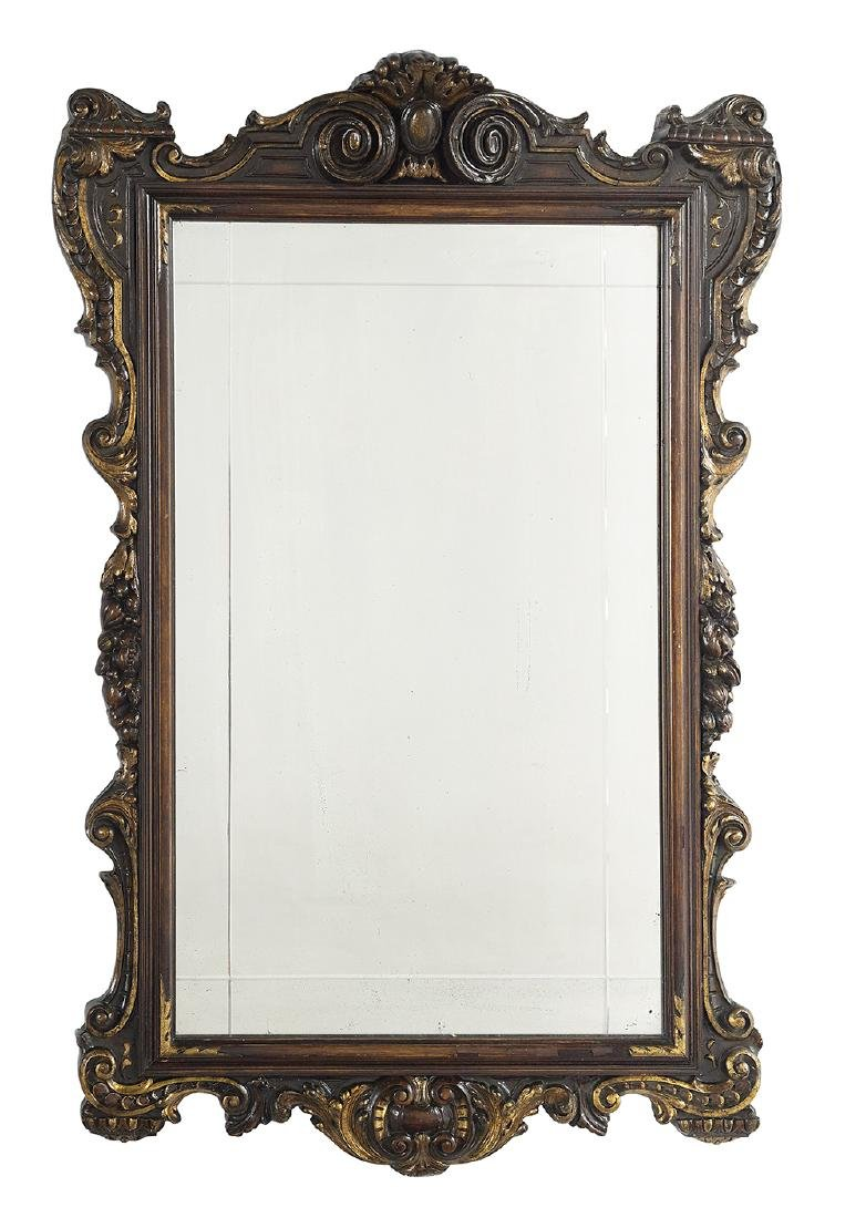 Renaissance-Style Walnut and Parcel-Gilt Mirror
