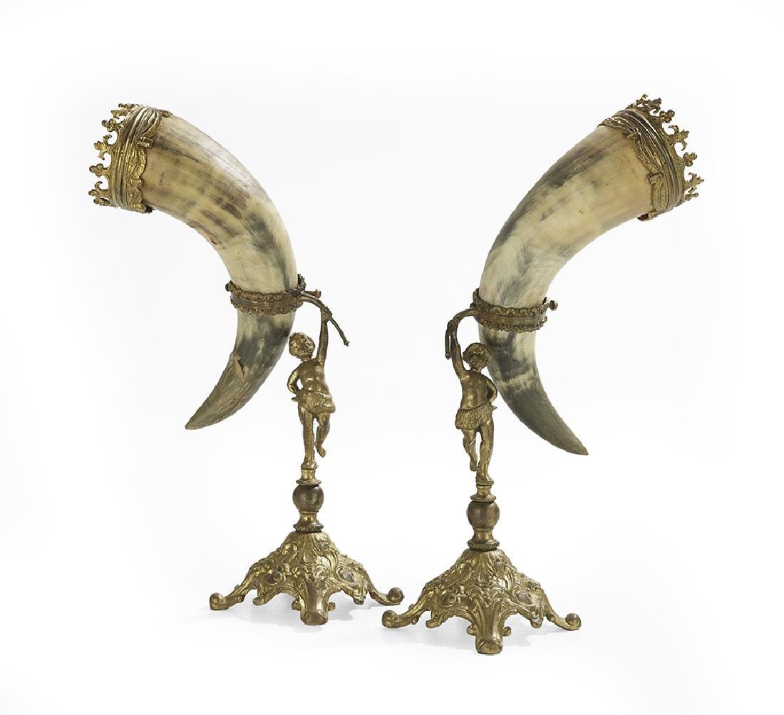Pair of Germanic Bronze and Bone Drinking Horns