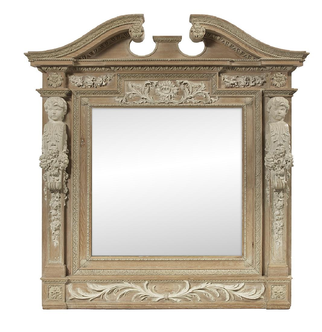 Georgian-Style Pine and Creme Peinte Mirror