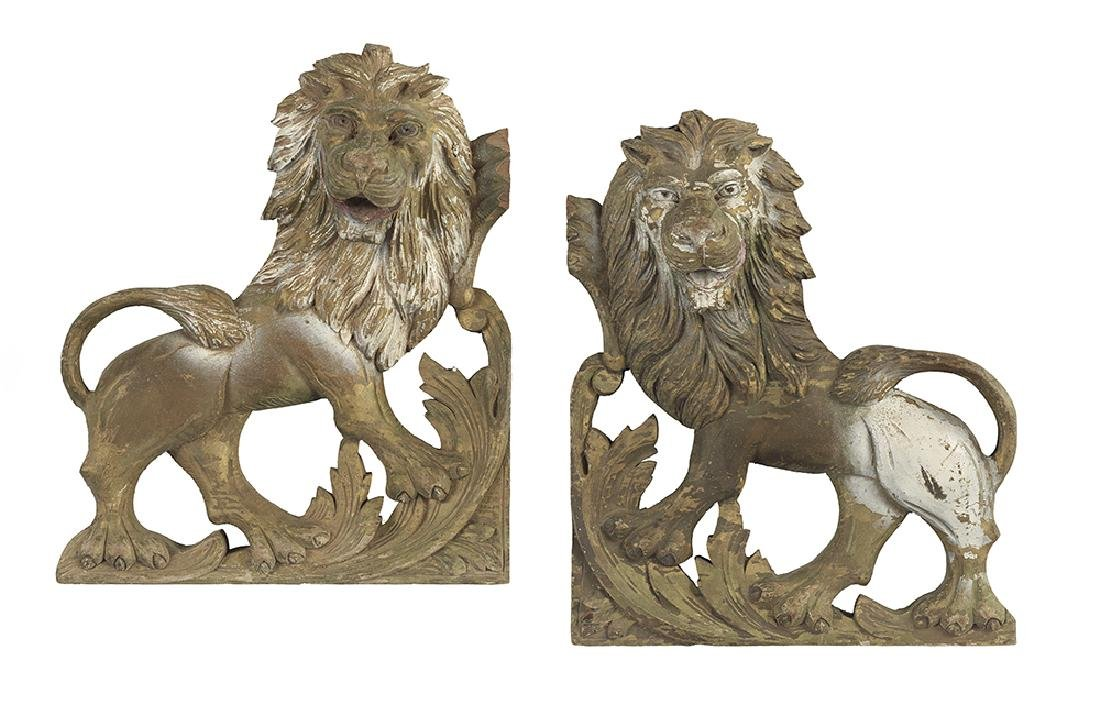 Pair of Carved and Pierced Wooden Lion Appliques