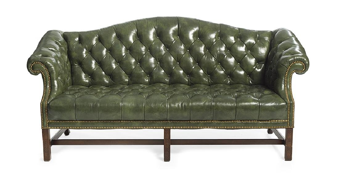 Chippendale-Style Leather Camelback Sofa