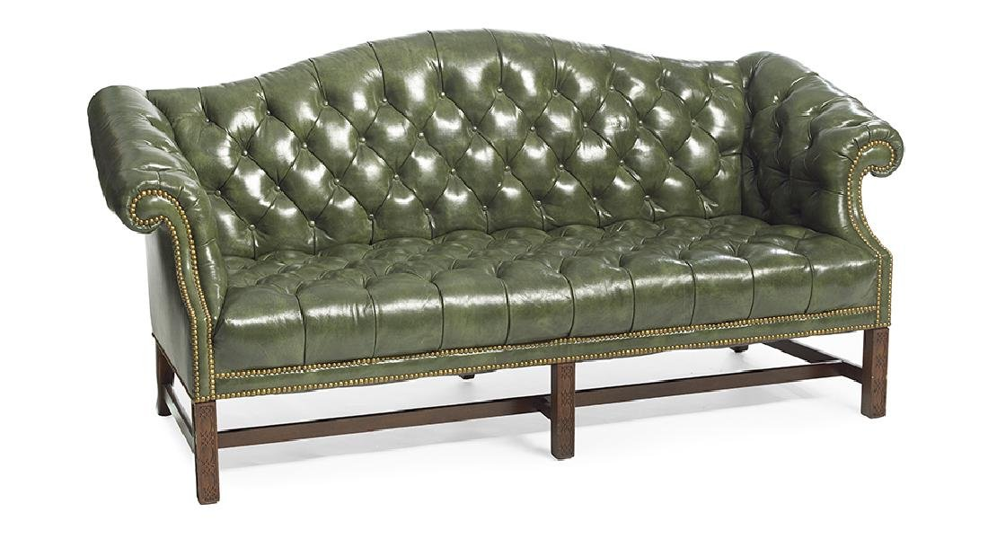 Chippendale-Style Leather Camelback Sofa - 2